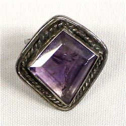 Large Artisan Crafted Sterling & Amethyst Ring