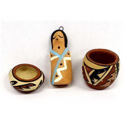 3 Pieces of Native American Jemez Pueblo Pottery