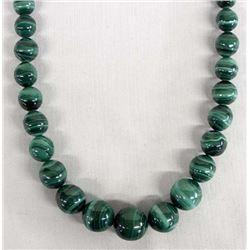 Graduated Banded Malachite Bead Necklace