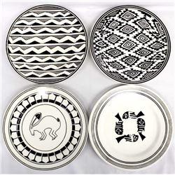 4 Anasazi Traders Mimbres Designed Ceramic Plates