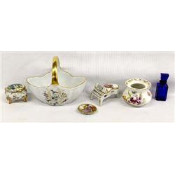 Gold Gilt Porcelain Miniatures Plus