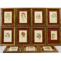 11 American Indian Crayon Drawing Prints, Burbank