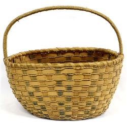 Native American Micmac Single Handled Basket