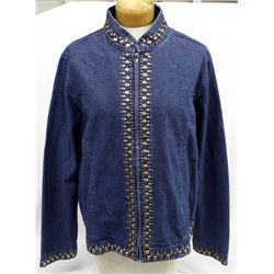 Embellished Beaded Denim Jacket, Size XL