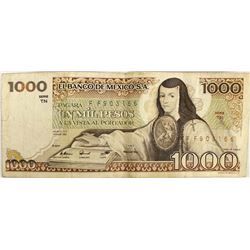 1000 Peso Mexican Currency Bill