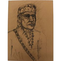 Original Native American Pen and Ink Drawing, Naha