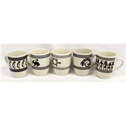Set of 5 Anasazi Traders Mimbres Designed Black on