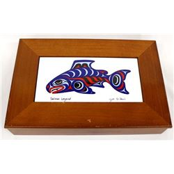 Salmon Legend Tile & Wood Box by Joe Wilson