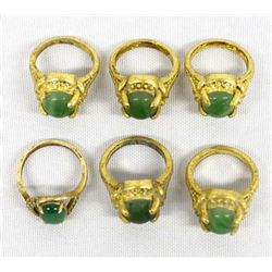 6 Goldtone Jadeite Miscellaneous Rings