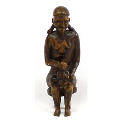 African Carved Wood Mother and Child