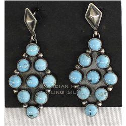 Large Navajo Sterling Turquoise Earrings, R. Joe