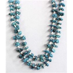 Navajo Turquoise Nugget & Shell Heishi Necklace