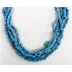 Navajo Sterling & 5 Strand Turquoise Necklace