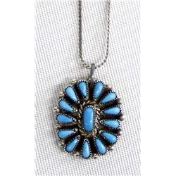 Zuni Sterling Turquoise Cluster Pendant Necklace