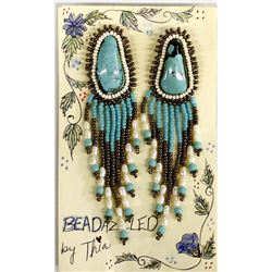 Beadazzled Beaded Turquoise Earrings by Thia