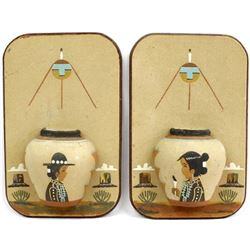 2 Navajo 3-Dimensional Sand Painted Pictures