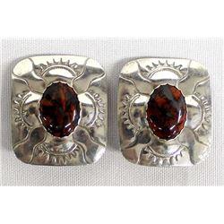 Vintage Navajo Silver & Jasper Clip-On Earrings