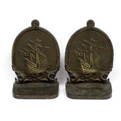 Antique Bradley & Hubbard Sailing Ship Bookends