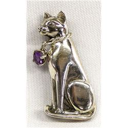 Sterling Silver & Amethyst Cat Pin and Pendant