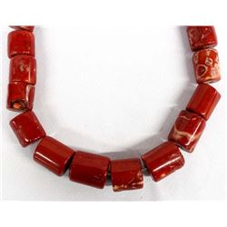 String of Large Red Branch Coral Beads