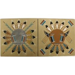 2 Native American Navajo Sand Paintings by W. Chee