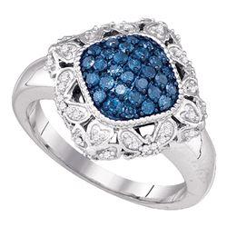 0.50 CTW Blue Color Diamond Diagonal Square Cluster Ring 10KT White Gold - REF-41M9H