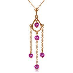 Genuine 1.50 ctw Pink Topaz Necklace Jewelry 14KT Rose Gold - REF-29V7W