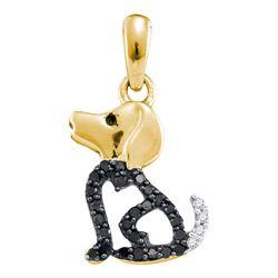 0.13 CTW Black Color Diamond Puppy Dog Doggy Animal Pendant 10KT Yellow Gold - REF-8W9K