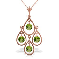 Genuine 1.20 ctw Peridot Necklace Jewelry 14KT Rose Gold - REF-30Y7F