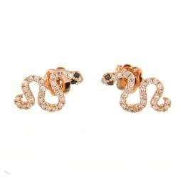 0.43 CTW White & Black Diamond Earrings 18K Rose Gold - REF-46Y4X