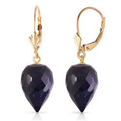 Genuine 25.7 ctw Sapphire Earrings Jewelry 14KT Yellow Gold - REF-37Z7N