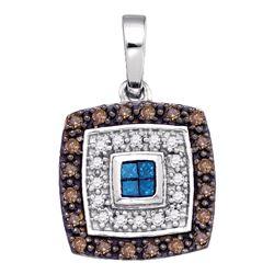 0.40 CTW Blue Cognac-brown Color Diamond Square Pendant 10KT White Gold - REF-26H9M