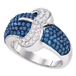 1.4 CTW Blue Color Diamond Belt Buckle Cocktail Ring 10KT White Gold - REF-59M9H