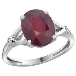 Natural 3.65 ctw Ruby & Diamond Engagement Ring 14K White Gold - REF-38N9G