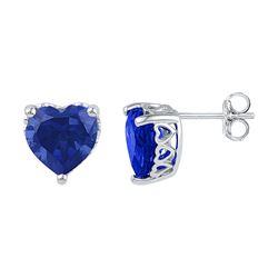 7 CTW Created Blue Sapphire Heart Stud Earrings 10KT White Gold - REF-14W9K