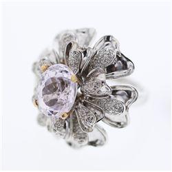 5.79 CTW Kunzite & Diamond Ring 18K 2Tone Gold - REF-186W2H
