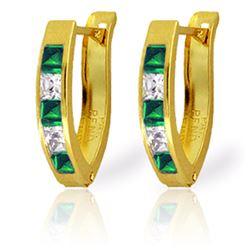 Genuine 1.26 ctw Emerald & White Topaz Earrings Jewelry 14KT Yellow Gold - REF-31X6M