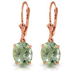 Genuine 6.25 ctw Green Amethyst Earrings Jewelry 14KT Rose Gold - REF-41A2K