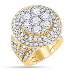 7.04 CTW Diamond Cluster Bridal Engagement Ring 14KT Yellow Gold - REF-1117F4N