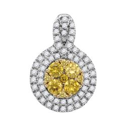 1.02 CTW Yellow Diamond Circle Cluster Pendant 14KT White Gold - REF-104K9W