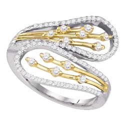 0.48 CTW Diamond Bypass Fashion Ring 10KT Two-tone Gold - REF-41Y9X