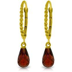 Genuine 3 ctw Garnet Earrings Jewelry 14KT Yellow Gold - REF-24A3K