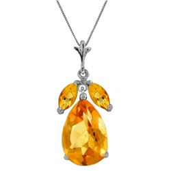 Genuine 6.5 ctw Citrine Necklace Jewelry 14KT White Gold - REF-34P6H