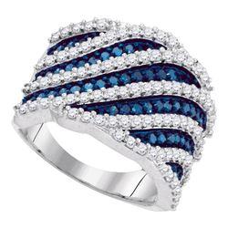 1.85 CTW Blue Color Diamond Diagonal Fashion Ring 10KT White Gold - REF-98M9H
