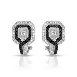1.06 CTW White & Black Diamond Earrings 18K White Gold - REF-120M2F