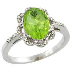 Natural 2.24 ctw Peridot & Diamond Engagement Ring 10K White Gold - REF-30Z2Y