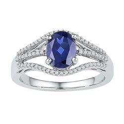 1.8 CTW Oval Created Blue Sapphire Solitaire Diamond Ring 10KT White Gold - REF-25M4H