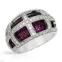 2.22 CTW Ruby & Diamond Ring 14K White Gold - REF-113R5K