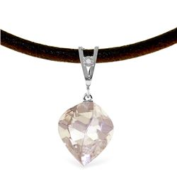 Genuine 12.81 ctw White Topaz & Diamond Necklace Jewelry 14KT White Gold - REF-45V2W