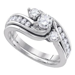 1 CTW Diamond 3-stone Bridal Engagement Ring 14KT White Gold - REF-157H5M